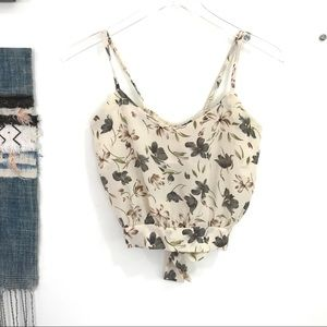 VINTAGE Open tie back floral tank crop top size XS